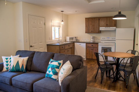 Our fully stocked kitchen has a standard fridge, dishwasher, stove, microwave, and coffee pot. The table is off to the side and seats 4. The couch in the living room pulls out into a full bed.